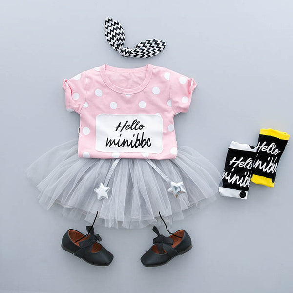 Hello Mini Polka Dot Summer Set For Baby Girls