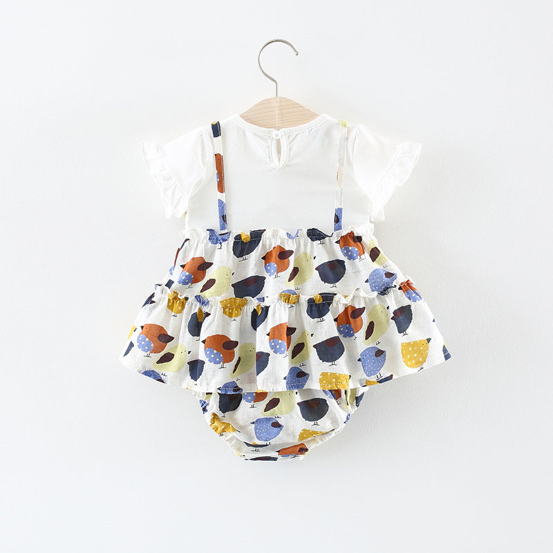 Printed Dress Plus Bloomer Set For Baby Girls