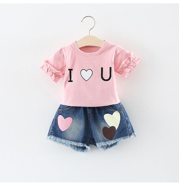 Love Top plus Denim Shorts Set