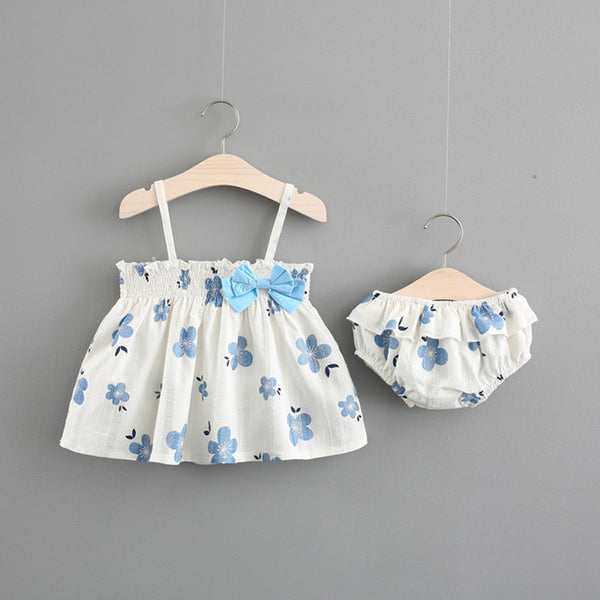 Flower Printed Bow Bloomer Set For Baby Girls