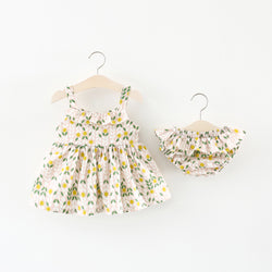 Leaf Printed Bloomer Set For Baby Girls
