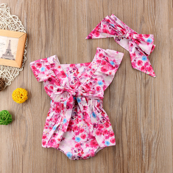 Pink Floral Jumpsuit With Headband