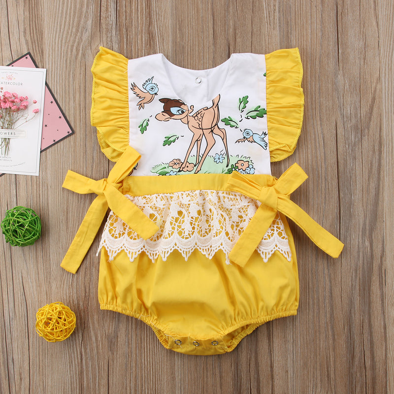 Yellow Lace Printed Romper