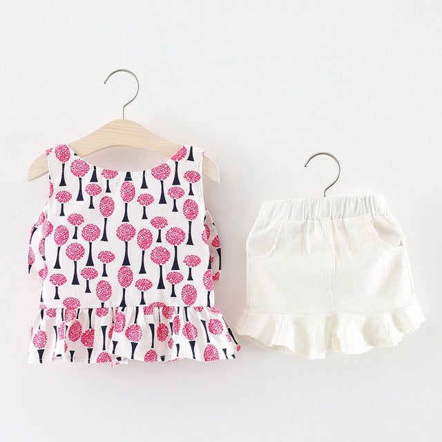 Tree Printed Top Plus Shorts Set