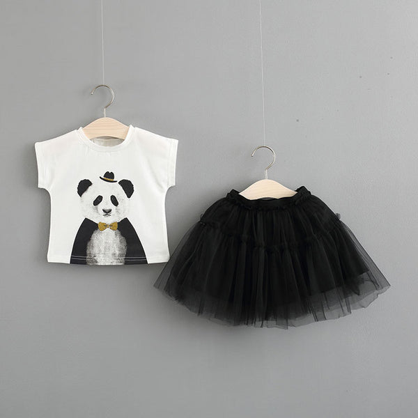 Panda Tshirt Plus Mesh Tutu Skirt Set