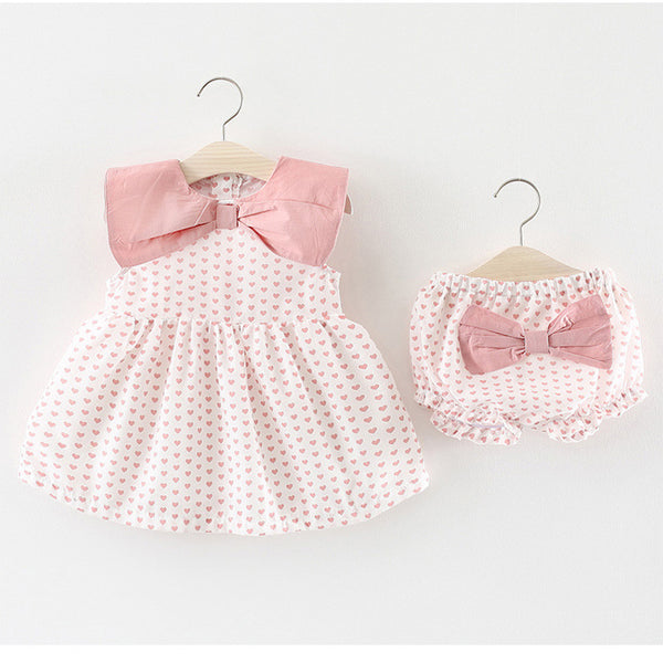 Bow Heart Printed Bloomers Set