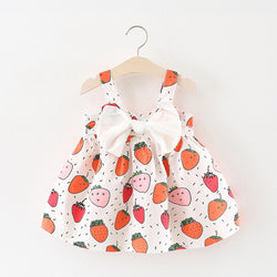 Fruit Printed Summer Dress With Bow