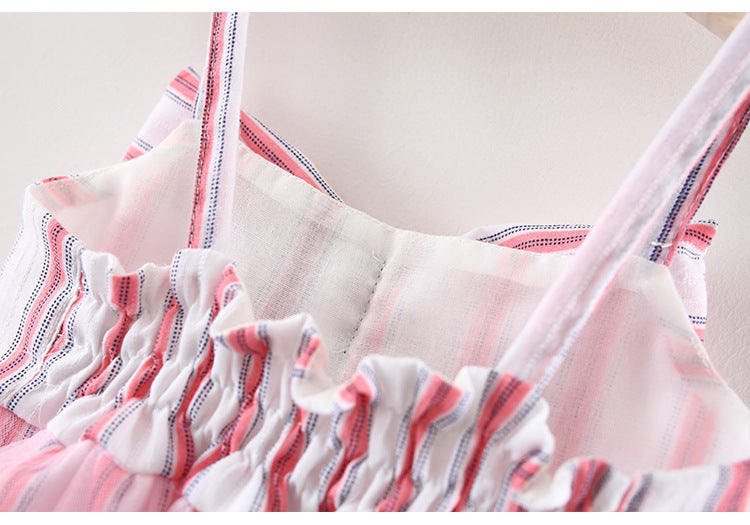 Bow Spaghetti Striped Summer Dress For Baby Girls