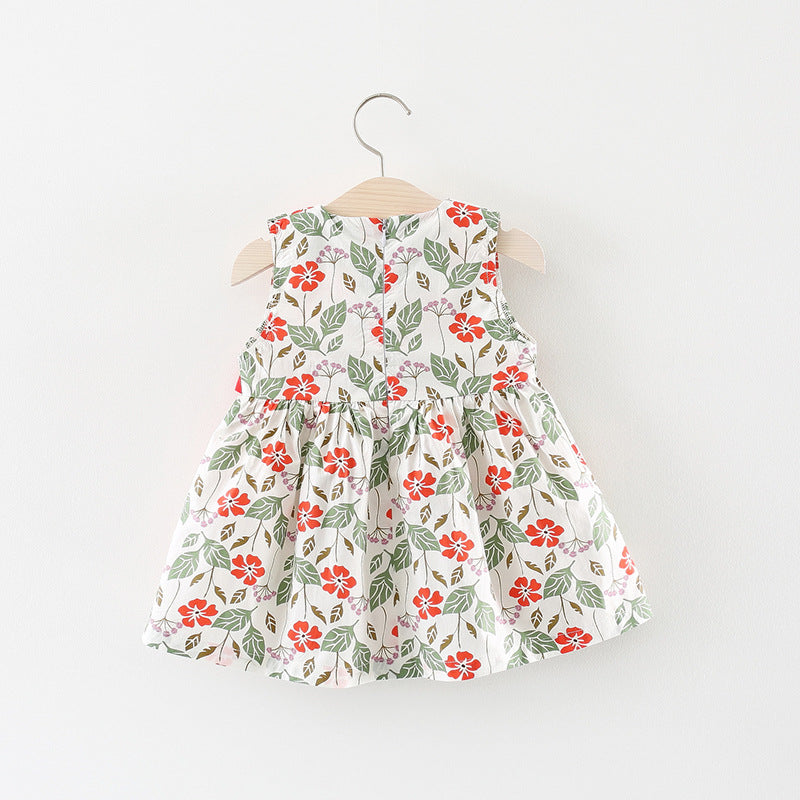 Bow Floral Sleeveless Summer Dress For Baby Girls