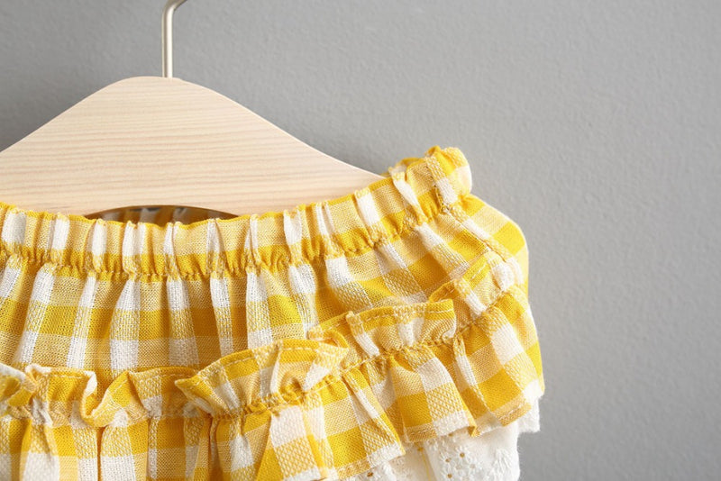 Plaided Bow Bloomers Set