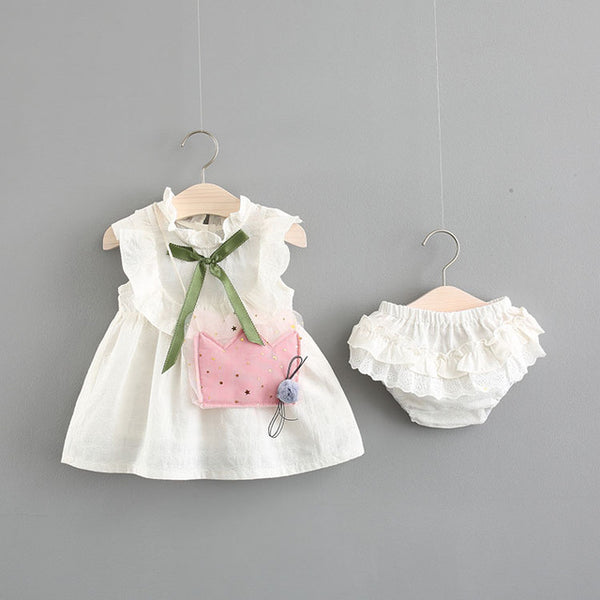 Ruffles Sleeveless Bow Dress With Bloomers