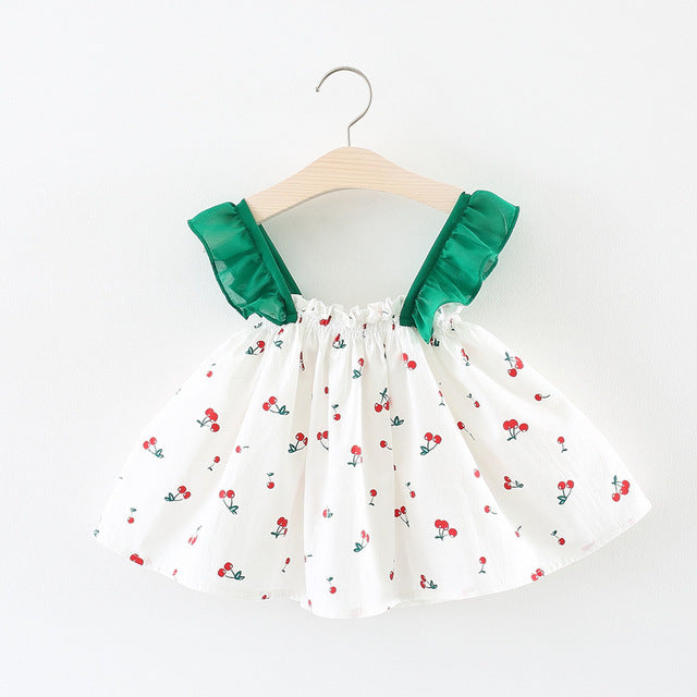 Ruffles Straped Flora Printed Summer Dress For Baby Girls