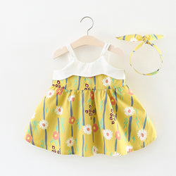Flower Printed Summer Dress With Matching Hairband