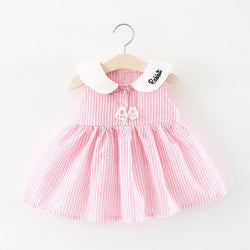 Doll Collar Rabbit Striped Summer Dress For Baby Girls