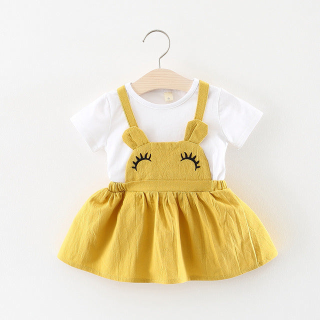 Cute Cartoon Two Pieces Dress For Baby Girls