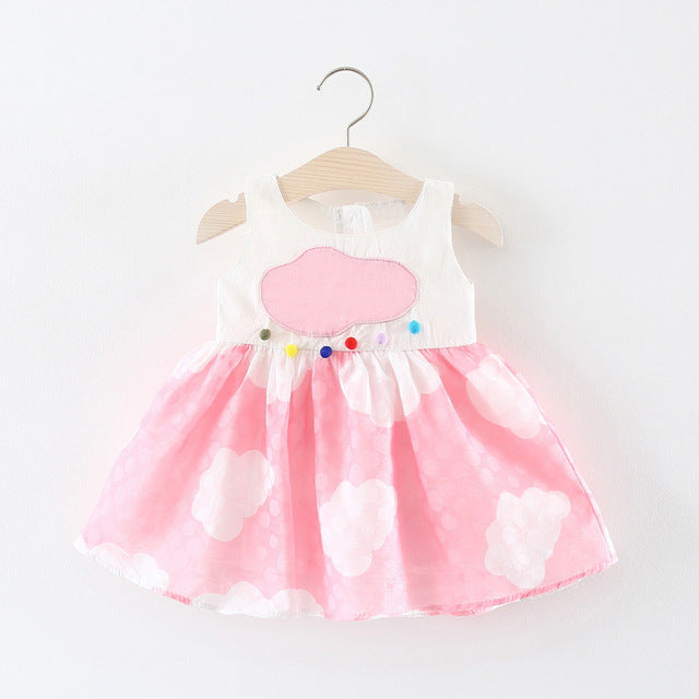 Cloud Printed Sundress For Baby Girls