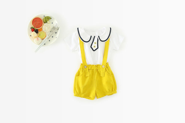 Doll Collar tee Plus Overall Set For Baby Girls