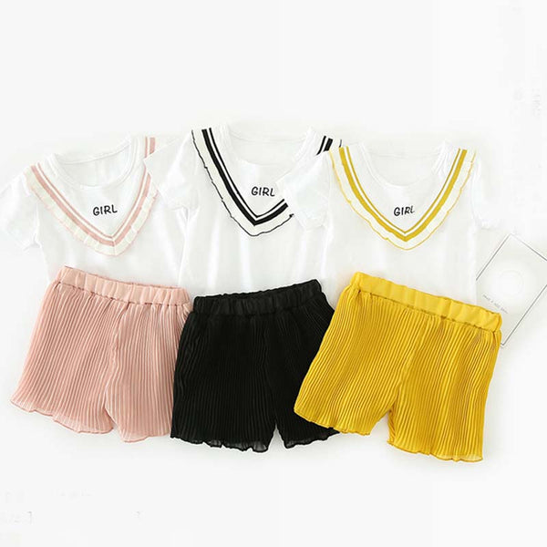 Short Sleeves Tshirt Plus Pleated Shorts Set