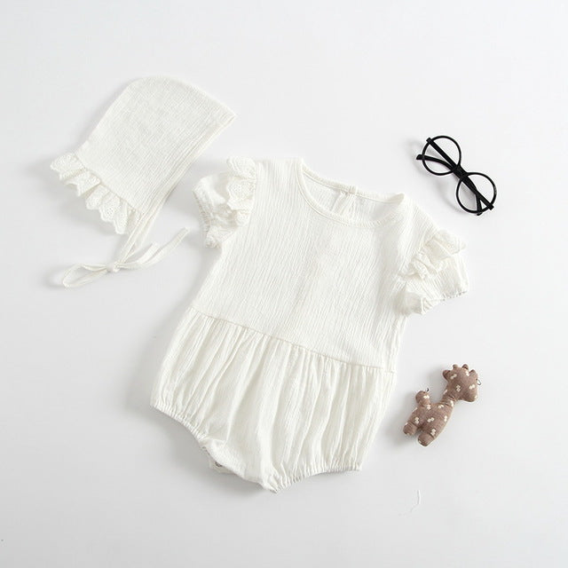 Hollow Flying Sleeves Cotton Romper With Hat