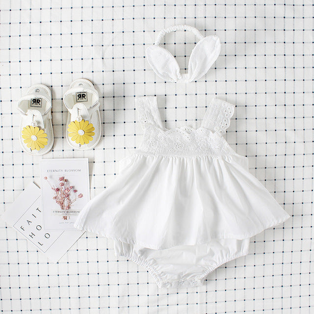 Lace Cotton Summer Romper For Baby Girls
