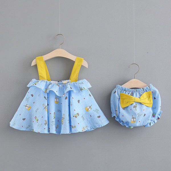 Cartoon Printed Bow Bloomer Set