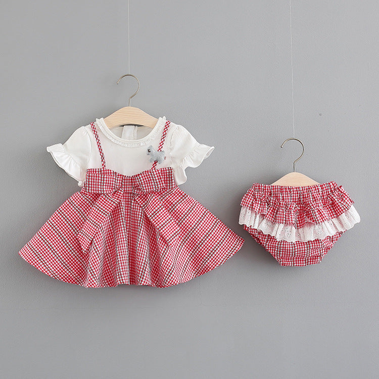 Bow Plaided Summer Dress Plus Ruffles Bloomers