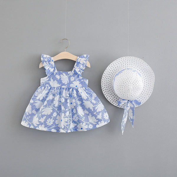Sleeveless Printed Flora Ruffles Dress With Hat