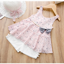 Bow Floral Tank Top Plus Shorts With Hat