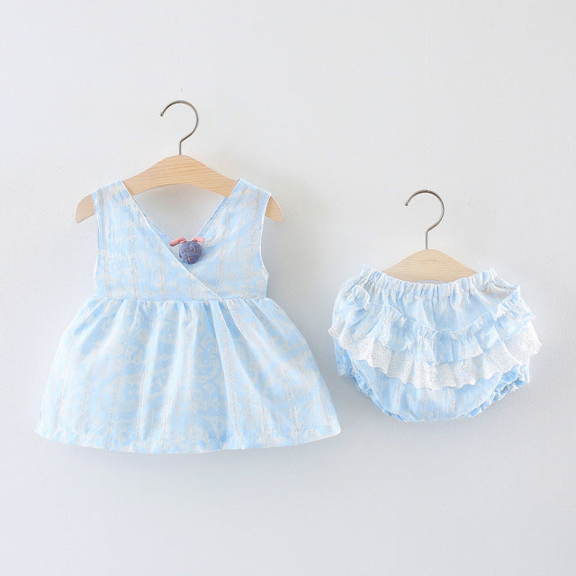 Sleeveless Bow Dress Plus Ruffles Bloomers