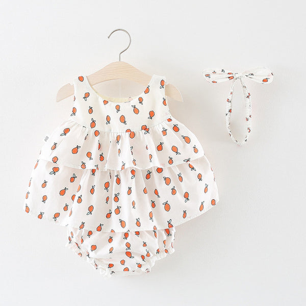 Fruit Printed Ruffles Dress Plus Bloomers