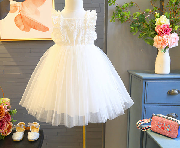 White Ruffles Sleeves Princess Gown