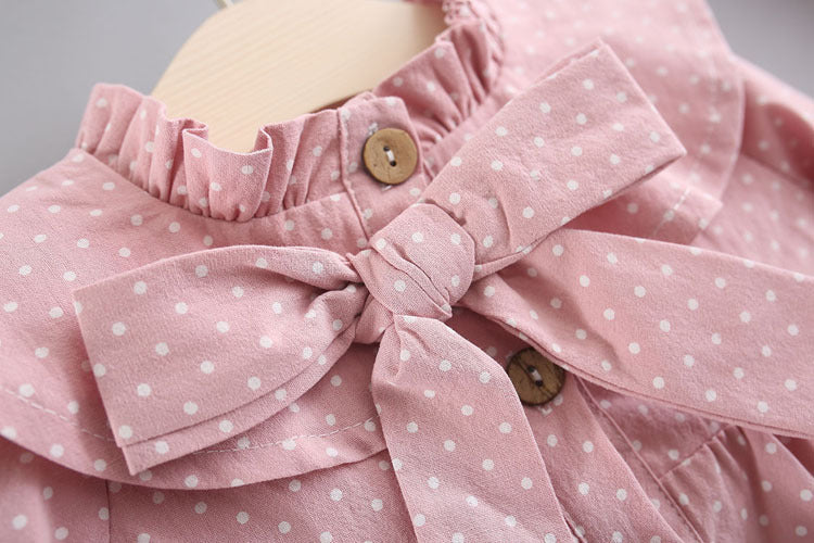 Polka Dots Printed Buttoned Bow Dress With Headband