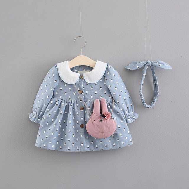 Floral Printed Doll Collar Buttoned Dress For Baby Girls
