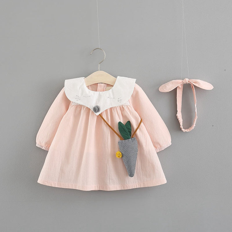 Fox Collar Long Sleeves Dress For Baby Girls With Headband