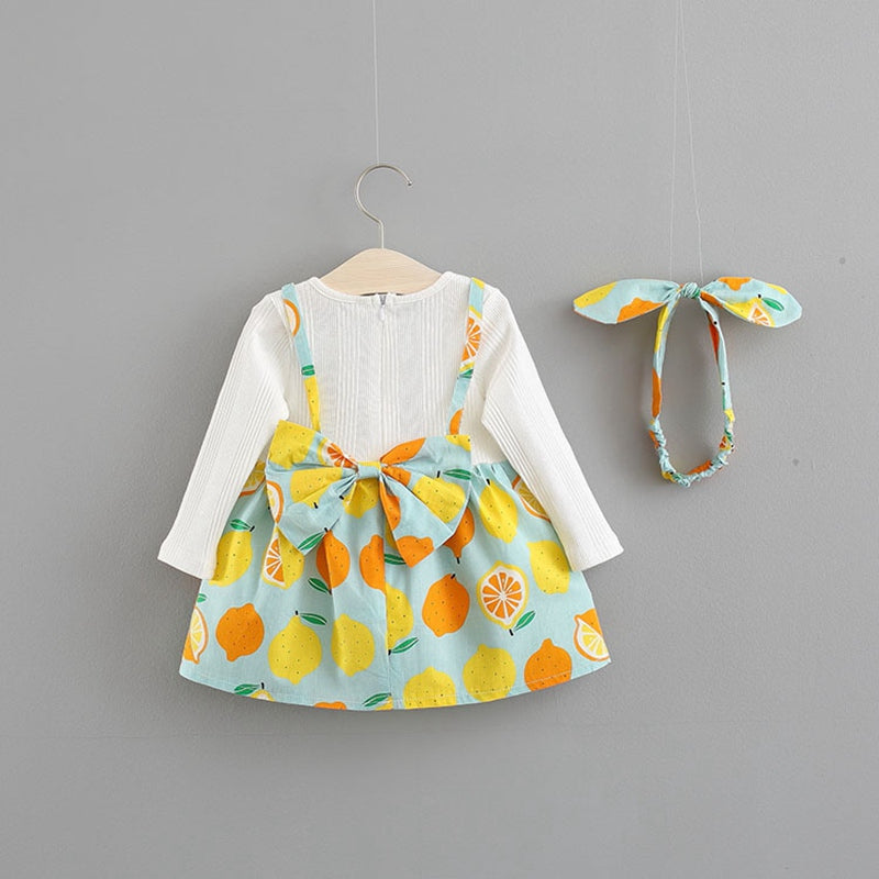 Lemon Printed Long Sleeves Dress For Baby Girls