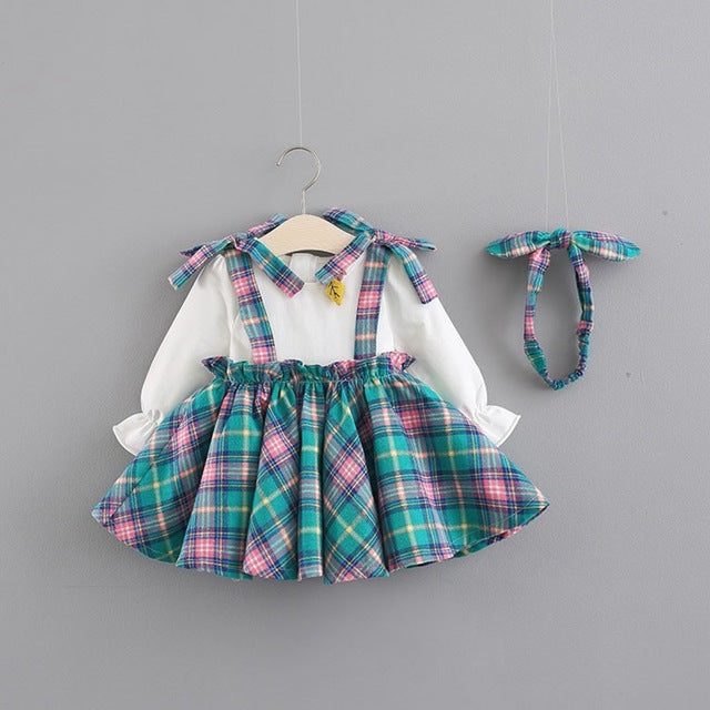 Half Plaided Skirt Style Dress For Baby Girls