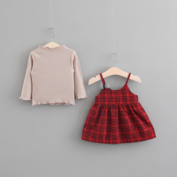 Basic Tshirt Plus Plaided Dress For Baby Girls