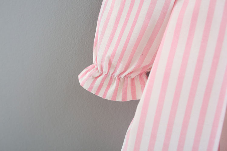 Turndown Collar Striped Dress With Headband For Baby Girls