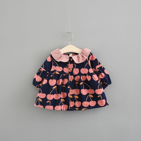 Cherry Printed Doll Collar Buttoned Dress For Baby Girls