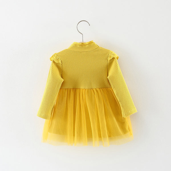 Ruffles Lace Mesh Dress For Baby Girls