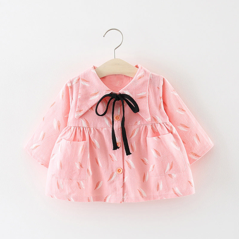 Printed Jacket Style Buttoned Dress For Baby Girls