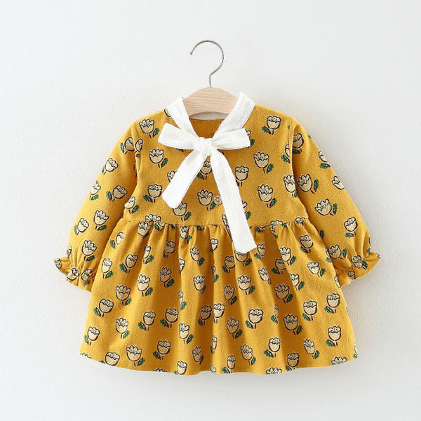 Rose Flower Printed Long Sleeves Dress For Baby Girls