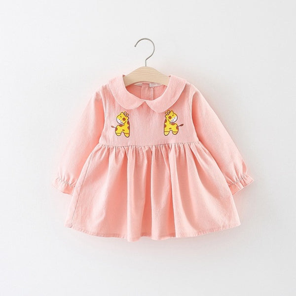 Deer Printed Doll Collar Long Sleeves Dress