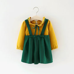 Basic Bow Tshirt Plus Overall Dress For Baby Girls