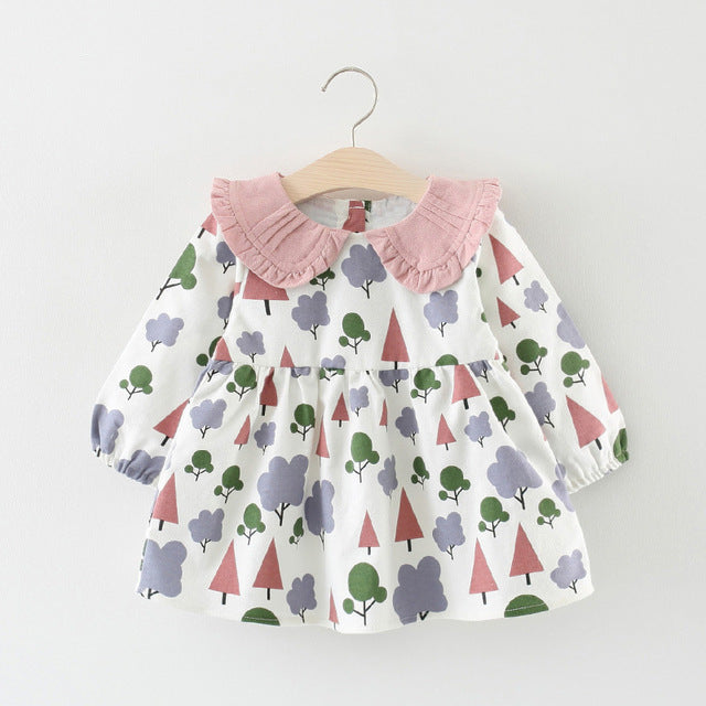 Tree Printed Doll Collar Long Sleeves Dress