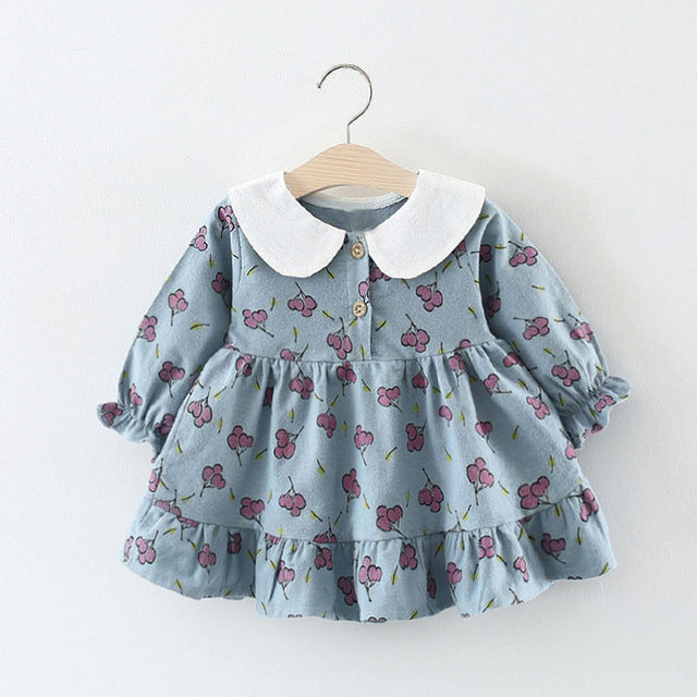 Doll Collar Cherry Printed Ruffles Sleeves Dress