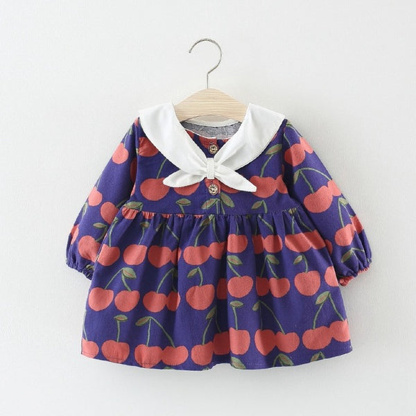 Cherry Printed Full Sleeves Dress For Baby Girls
