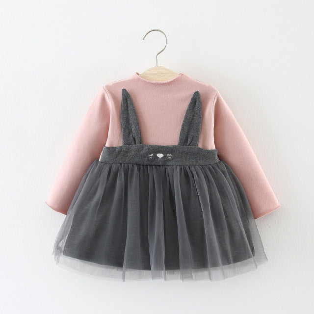 Cat Made Mesh Dress For Baby Girls