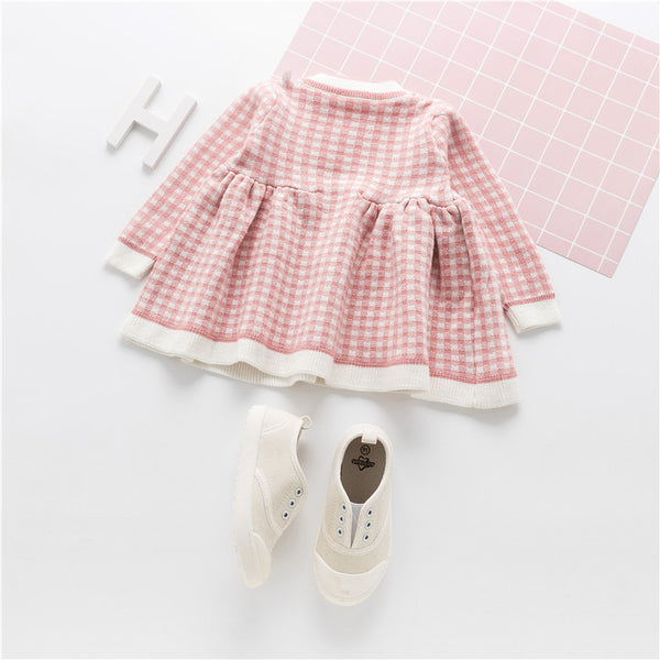 Plaid Knitwear Party Princess Dress