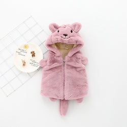Cat Hooded Fleece Sleeveless Winter Jacket